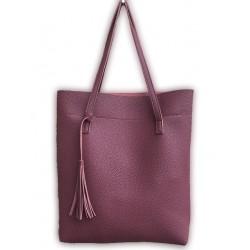 Duża damska torebka shopperka wykonana z miękkiej skóry ekologicznej w kolorze burgundowym. -