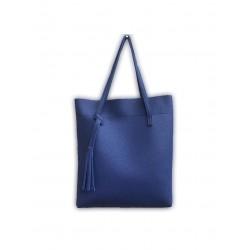 Duża damska torebka shopperka wykonana z miękkiej skóry ekologicznej w kolorze ciemnym niebieskim. -