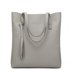 Duża damska torebka shopperka wykonana z miękkiej skóry ekologicznej w kolorze szarym. -