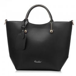 Czarna elegancka skórzana torebka trapezowa. -
