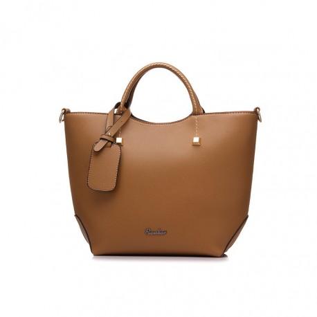 24a5255de2552 Elegancka skórzana damska torebka trapezowa z długim paskiem.