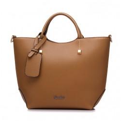 Elegancka skórzana torebka trapezowa w kolorze khaki. -