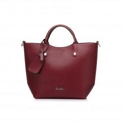Elegancka skórzana torebka trapezowa w kolorze winnej czerwini. -