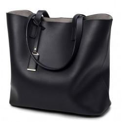 Czarna skórzana torebkatypu shopper z odpinanym osobnym organizerem. -