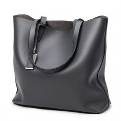 Szara skórzana torebkatypu shopper z odpinanym osobnym organizerem. -