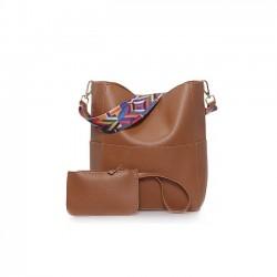 Modna i stylowa torebka typu worek z ozdobnym paskiem aztec. -