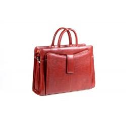 Polskiej produkcji elegancka skórzana torebka - teczka damska. Dostępna w kolorze czarnym, brązowym, jasnym brązowym - k