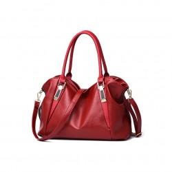 Pojemna klasyczna torebka damska w kolorze winnym czerwonym. -