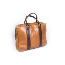 Elegancka musztardowa skórzana torba na laptopa, która idealnie wpasowuje się w kobiecy i męski styl. Ekskluzywne wykońc