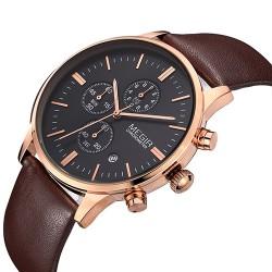 Elegancki klasyczny zegarek męski na pasku. -
