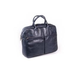 Ekskluzywna granatowa torba na laptopa z dwoma kieszeniami z przodu. Wykonana przez polskich rzemieślników z wysokiej ja
