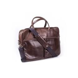 Ekskluzywna torba vintage brązowa na laptopa z dwoma kieszeniami z przodu. Wykonana przez polskich rzemieślników z wysok