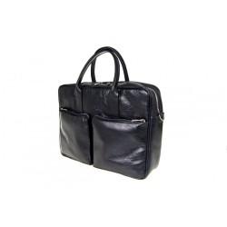 Ekskluzywna torba vintage czarna na laptopa z dwoma kieszeniami z przodu. Wykonana przez polskich rzemieślników z wysoki
