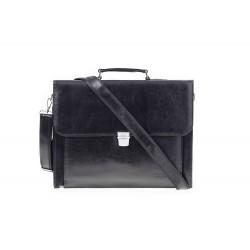 Eleganckamęska skórzana teczka na dokumenty w kolorze czarnym. Wykonana przez polskich rzemieślników z wysokiej jakości