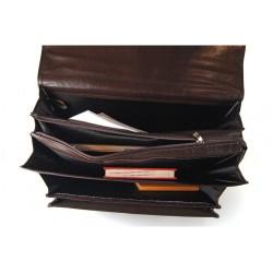 Pojemna męska skórzana teczka na dokumenty i laptopa w kolorze czarnym lub brązowym zamykana na kluczyk w stylu vintage.