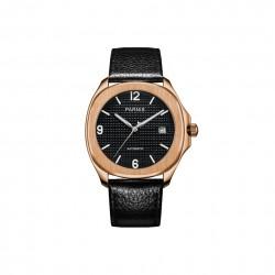 Automatyczny elegancki męski zegarek z skórzanym paskiem. -