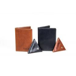 Zestaw nowoczesnego cienkiego męskiego portfela z skórzaną bilonówką to połączenie dwóch najważniejszych dodatków galant