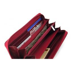 Pojemny i elegancki portfel damski wykonany z włoskiej skóry naturalnej dostępny w kolorze czarnym, bordowym oraz czerwo