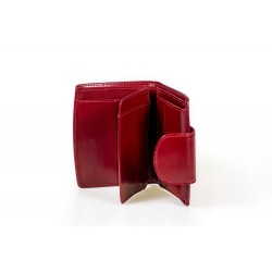 Niewielkich rozmiarówelegancki portfel damski wykonany z włoskiej skóry naturalnej dostępny w kolorze czarnym, bordowym