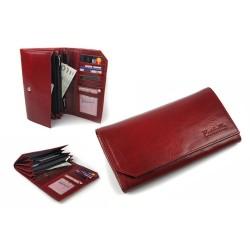 Pojemny i elegancki portfel damski wykonany z włoskiej skóry naturalnej w kolorze bordowym - wiśniowym spowoduje, że każ