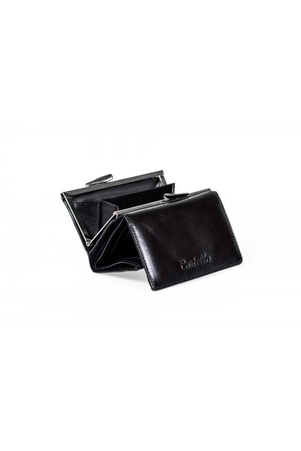 Mały skórzany portfel z zamknięciem na bigiel