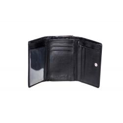 Małyi elegancki portfel damski wykonany z włoskiej skóry naturalnej dostępny w kolorze czarnym oraz czerwonym.Portfel