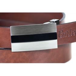 Elegancki i pasujący do małych szlufek w spodniach garniturowych skórzanybrązowy pasek męski wykonany z jednego kawałka