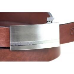 Brązowygładki skórzany pasek męski o szerokości 3cm z stalową klamrą idealnie pasujący do spodni garniturowych i jeansó
