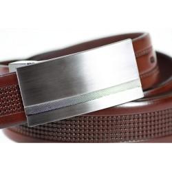 Brązowytłoczony skórzany pasek męski o szerokości 3cm z stalową klamrą idealnie pasujący do spodni garniturowych i jean
