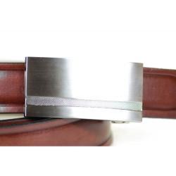 Brązowy skórzany pasek męski o szerokości 3cm z stalową klamrą idealnie pasujący do spodni garniturowych i jeansów. Dzię