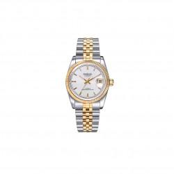 Elegancki duży i solidny zegarek na bransolecie. -