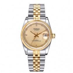 Elegancki duży i solidny zegarek na bransolecie z cyrkoniami. -