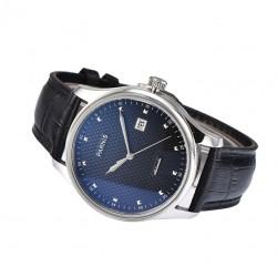 Prosty klasyczny elegancki zegarek męski. Automatyczny zegarek z paskiem skórzanym. -