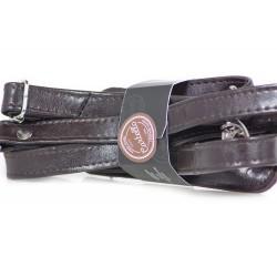 Klasyczny uniwersalny skórzany pasek do torby na ramię w kolorze ciemnym brązowymo szerokości 20mm. Pasek na ramię jest