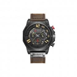 Duży zegarek męski na pasku z małymi tarczami. -