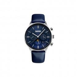 Duży i elegancki zegarekmęski na pasku skórzanym. -