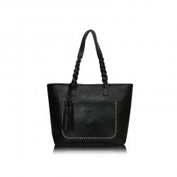 Duża damska torebka mieszcząca A4 i iPad'a w bardzo modnym stylu retrooraz kolorze czarnym. -
