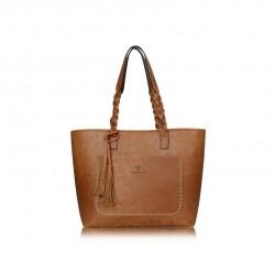 Duża damska torebka mieszcząca A4 i iPad'a w bardzo modnym stylu retrooraz kolorze jasnym brązowym - khaki. -