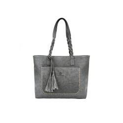 Duża damska torebka mieszcząca A4 i iPad'a w bardzo modnym stylu retrooraz modnym szarym kolorze. -
