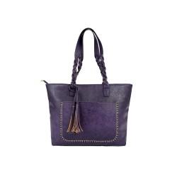 Duża damska torebka mieszcząca A4 i iPad'a w bardzo modnym stylu retrooraz wyzywającym fioletowym kolorze. -
