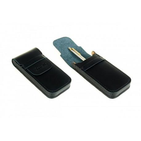 Eleganckie skórzane etui piórnik na długopislub pióro w kolorze czarnym, beżowymoraz brązowym. Piórnik ten przeznaczon