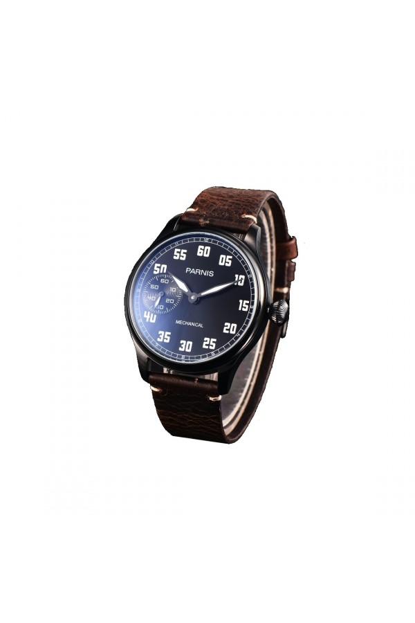 Minimalistycznyczarny mechaniczny zegarek męski. -