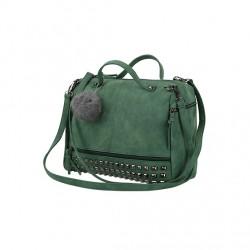 Damska torebka z pomponem i ćwiekami wzielonym kolorze. -