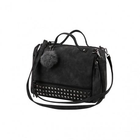 e78db1a9a0aca Damska torebka z pomponem i ćwiekami w ciemnym szarym - czarnym kolorze. -