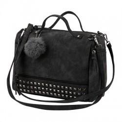 Damska torebka z pomponem i ćwiekami wciemnym szarym - czarnym kolorze. -