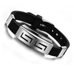 Atrakcyjna bransoletka męska na silikonowym pasku z eleganckim dodatkiem stali nierdzewnej. -
