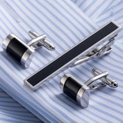 Stylowy srebrny zestaw spinek do mankietów i krawata. -