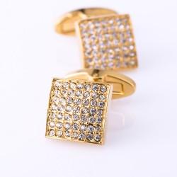 Złote kwadratowe spinki do mankietów z cyrkoniami. -