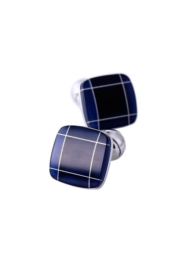 Modne kwadratowe niebieskie spinki do mankietów. -