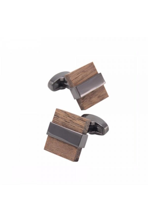 Szykowne spinki do mankietów koszuli z dodatkiem drewna. -
